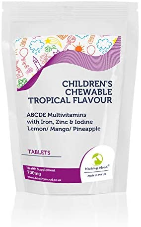 Children's Chewable Tropical Flavour ABCDE Multivitamin Tablets with Iron, Zinc & Iodine Lemon/Mango/Pineapple 700mg – UK – Pack of 250 Pills